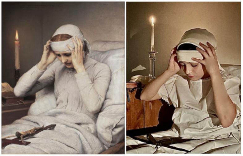 Bilder Nachstellen: Niemeier Santos Sara, Die ekstatische Jungfrau Katharina Emmerich (1885) von Gabriel Cornelius von Max